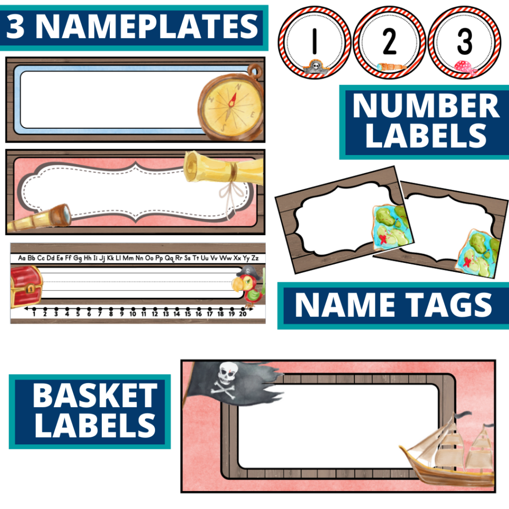 editable nameplates and basket labels for a pirates themed classroom