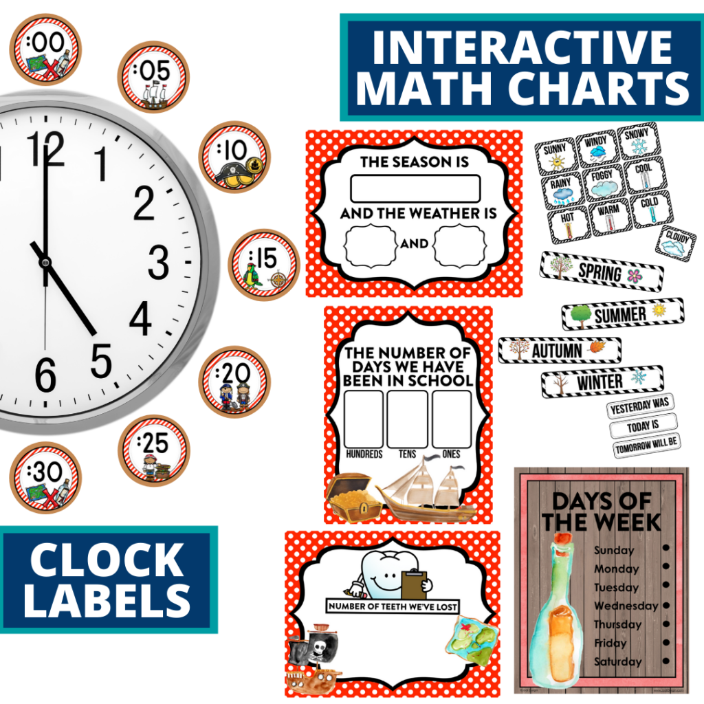 pirates themed math resources for telling time, place value and the days of the week
