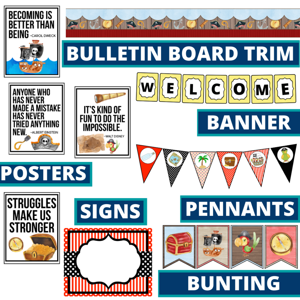 pirates theme bulletin board trim with pennants, banner and bunting