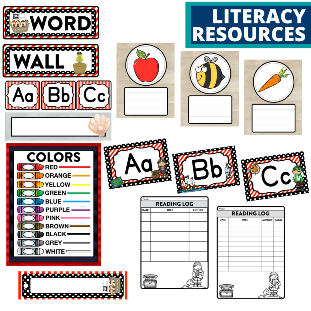 elementary classroom word wall and reading logs for a pirates themed classroom