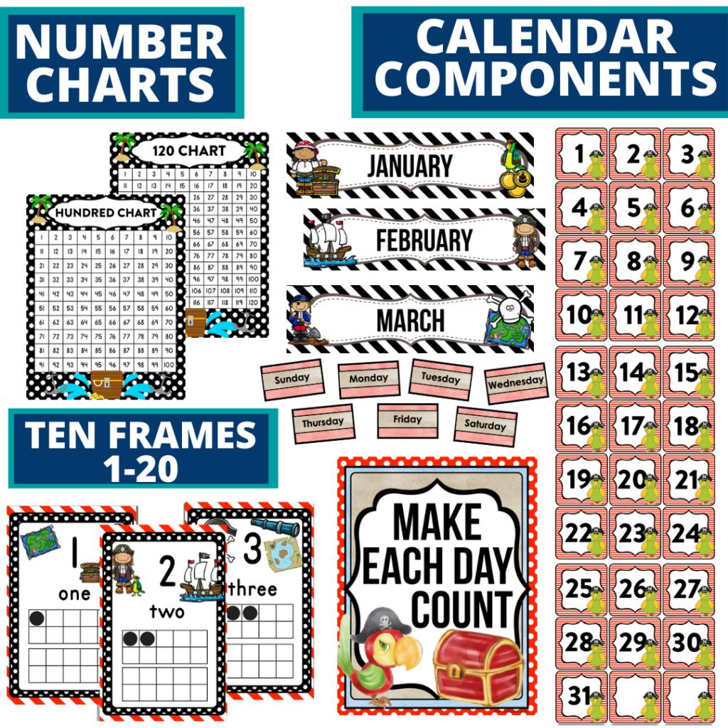 DIY printable classroom calendar for elementary teachers using a pirates classroom theme