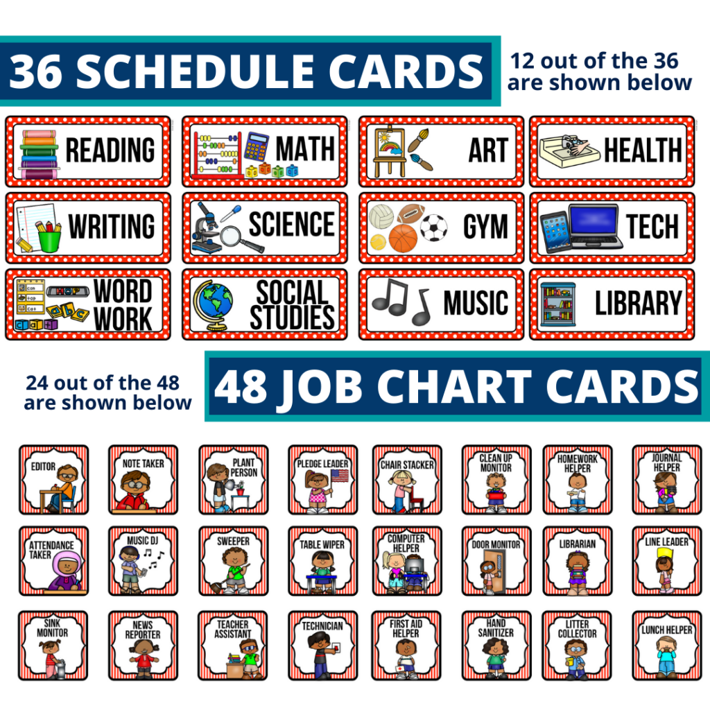 editable elementary schedule cards and job chart labels with a pirates theme