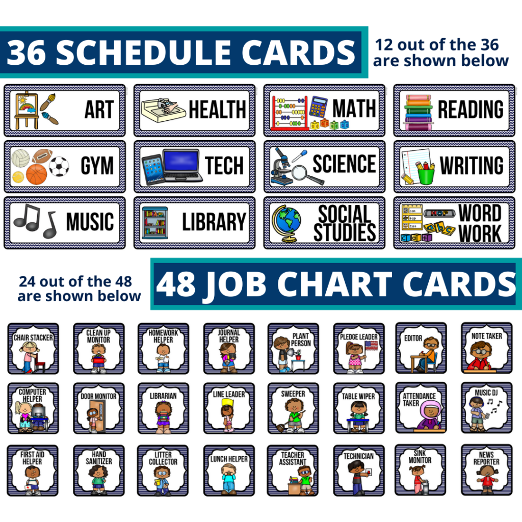 editable elementary schedule cards and job chart labels with a nautical theme
