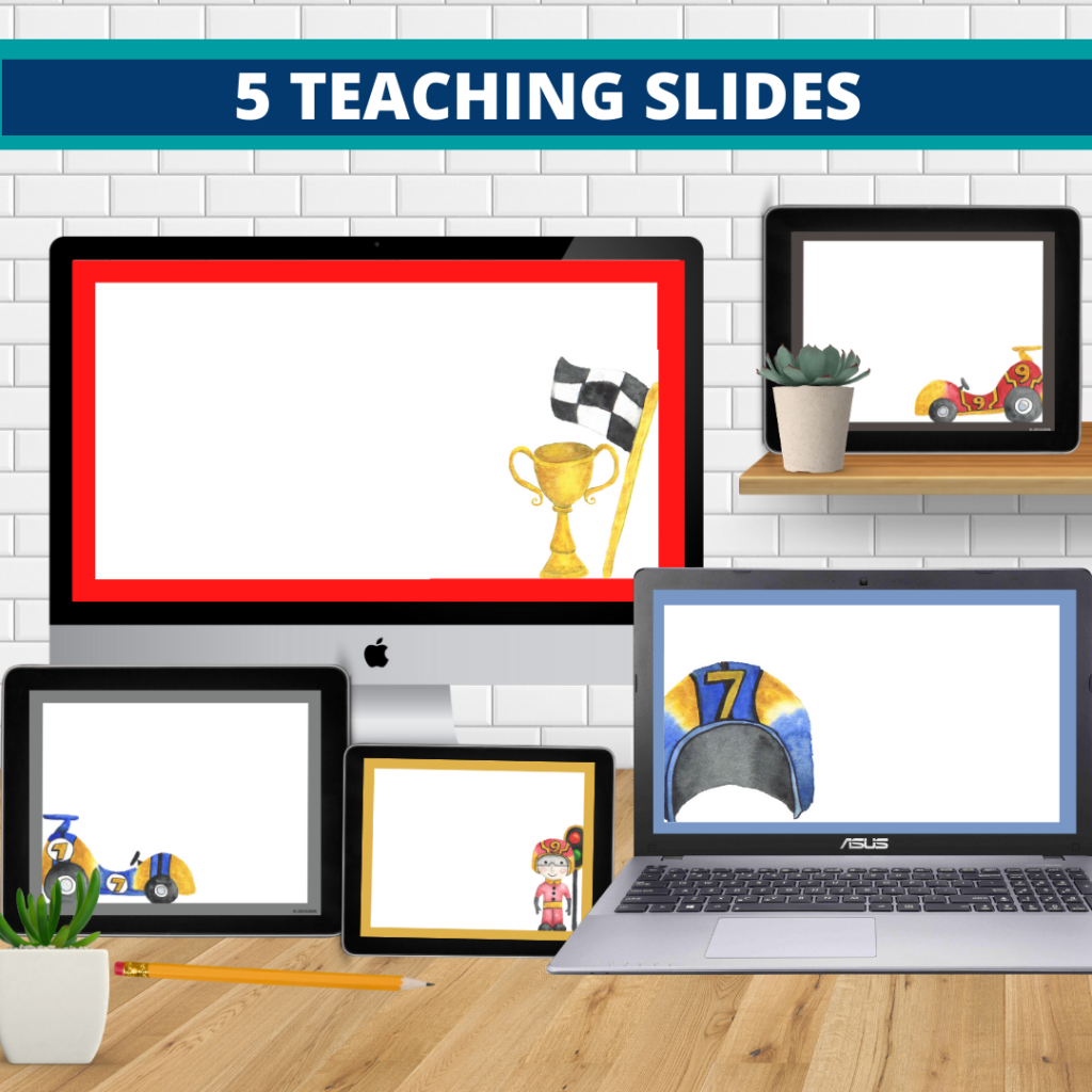 racing theme google classroom slides and powerpoint templates for elementary teachers shown on computers