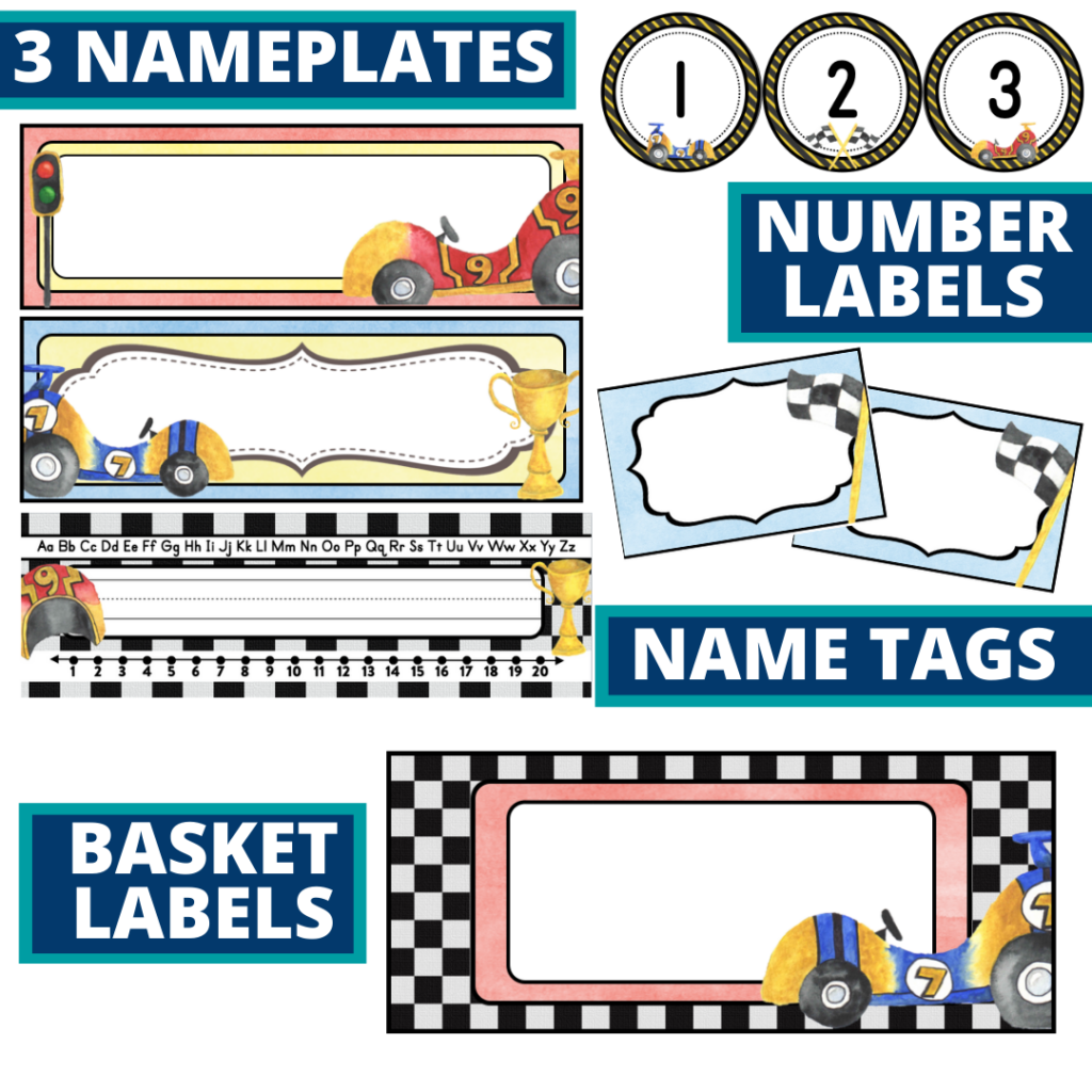 editable nameplates and basket labels for a racing themed classroom