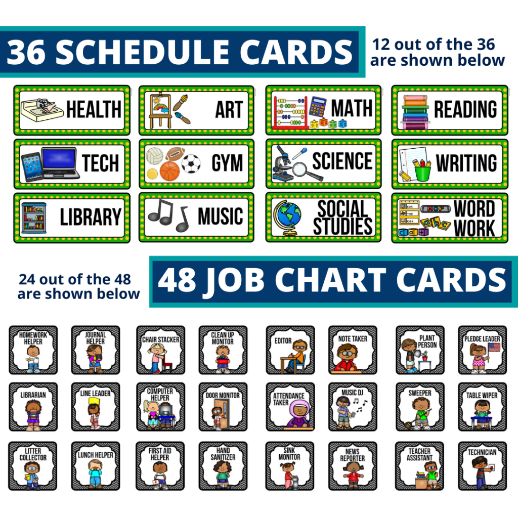 editable elementary schedule cards and job chart labels with a racing theme
