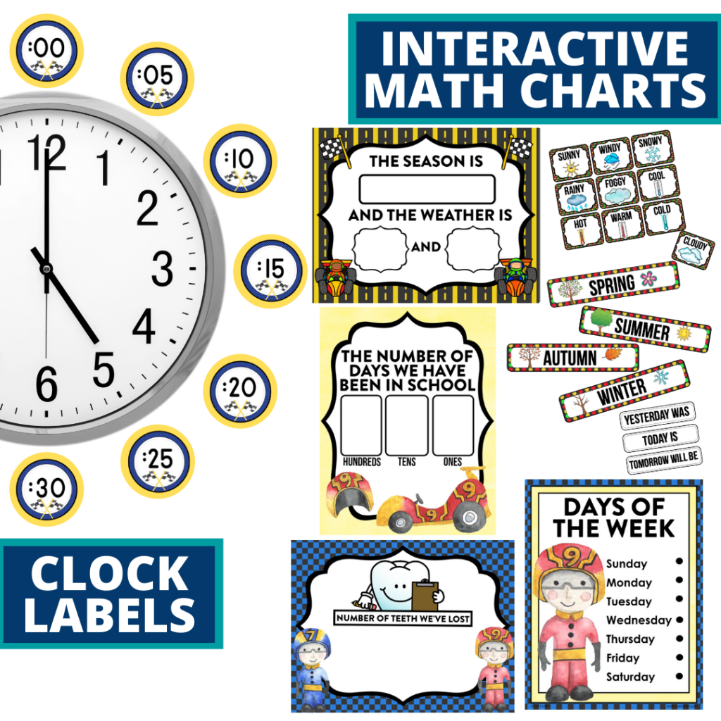 racing themed math resources for telling time, place value and the days of the week