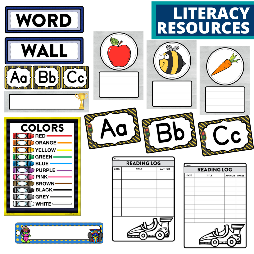 elementary classroom word wall and reading logs for a racing themed classroom