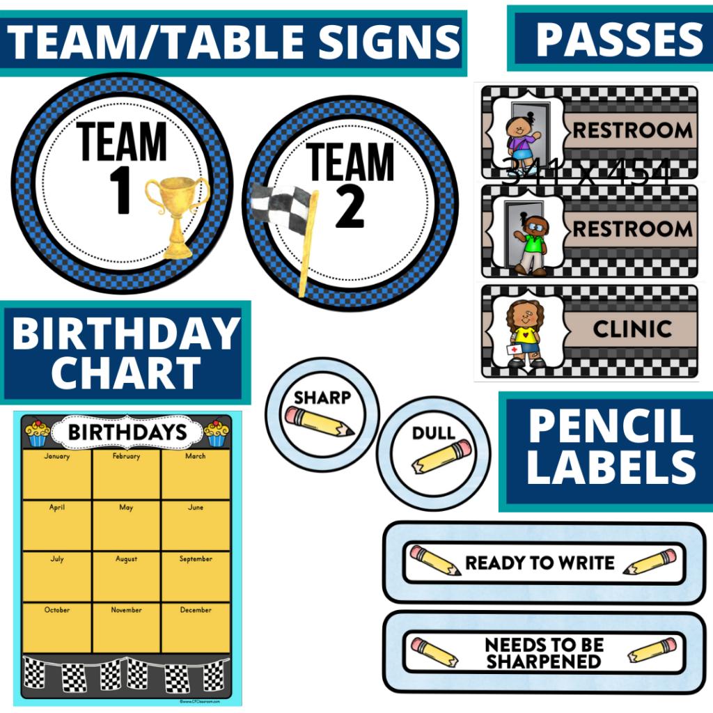 printable and editable racing theme classroom decor packets
