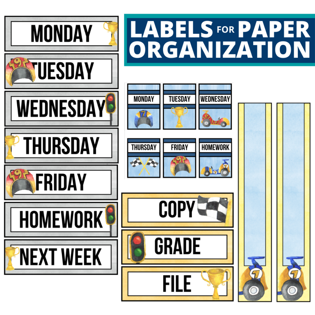 racing theme labels for paper organization in the classroom