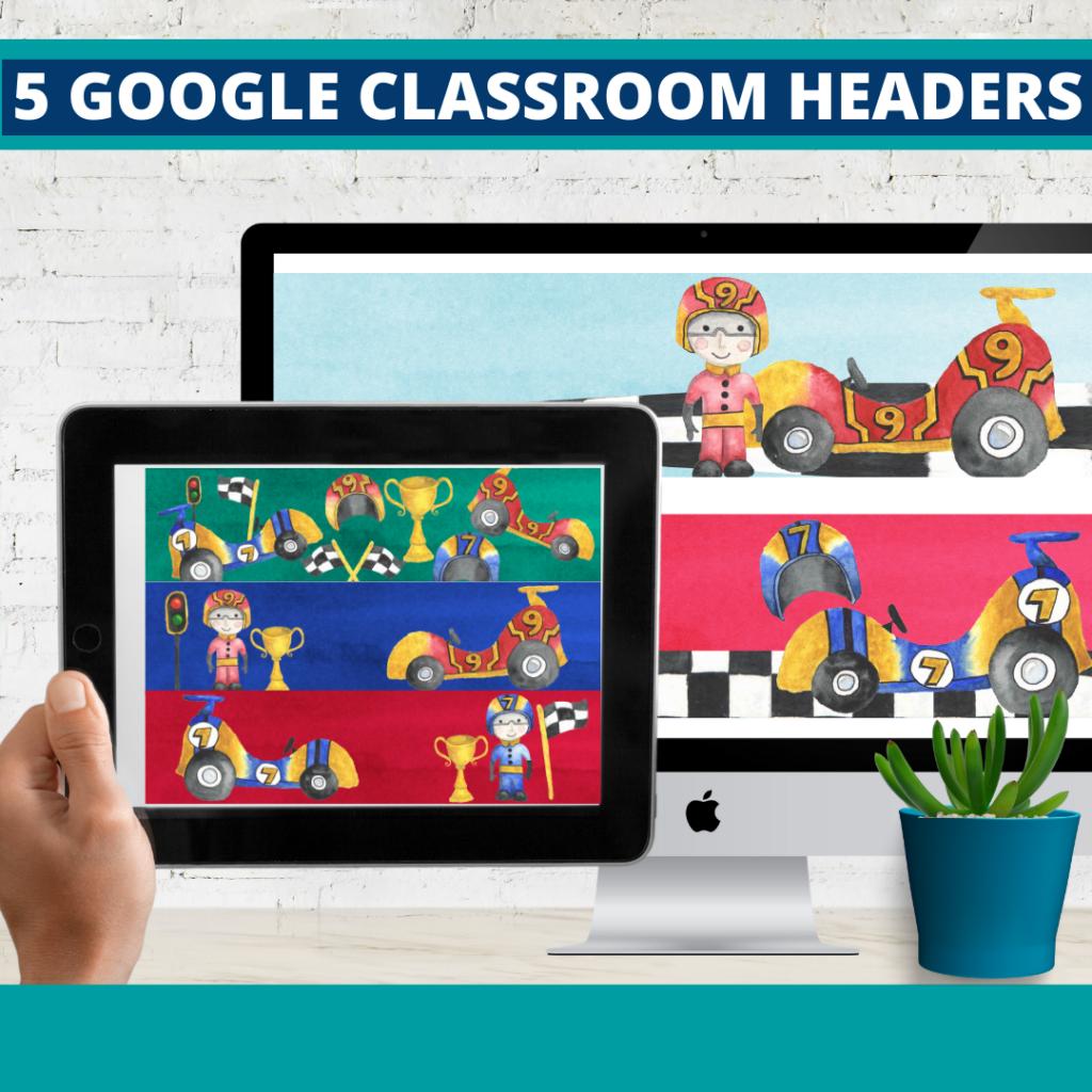 racing classroom themed google classroom headers and google classroom banners