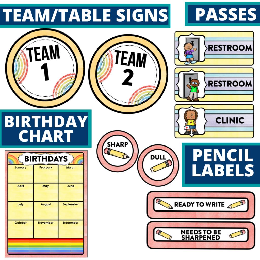 printable and editable rainbow theme classroom decor packets