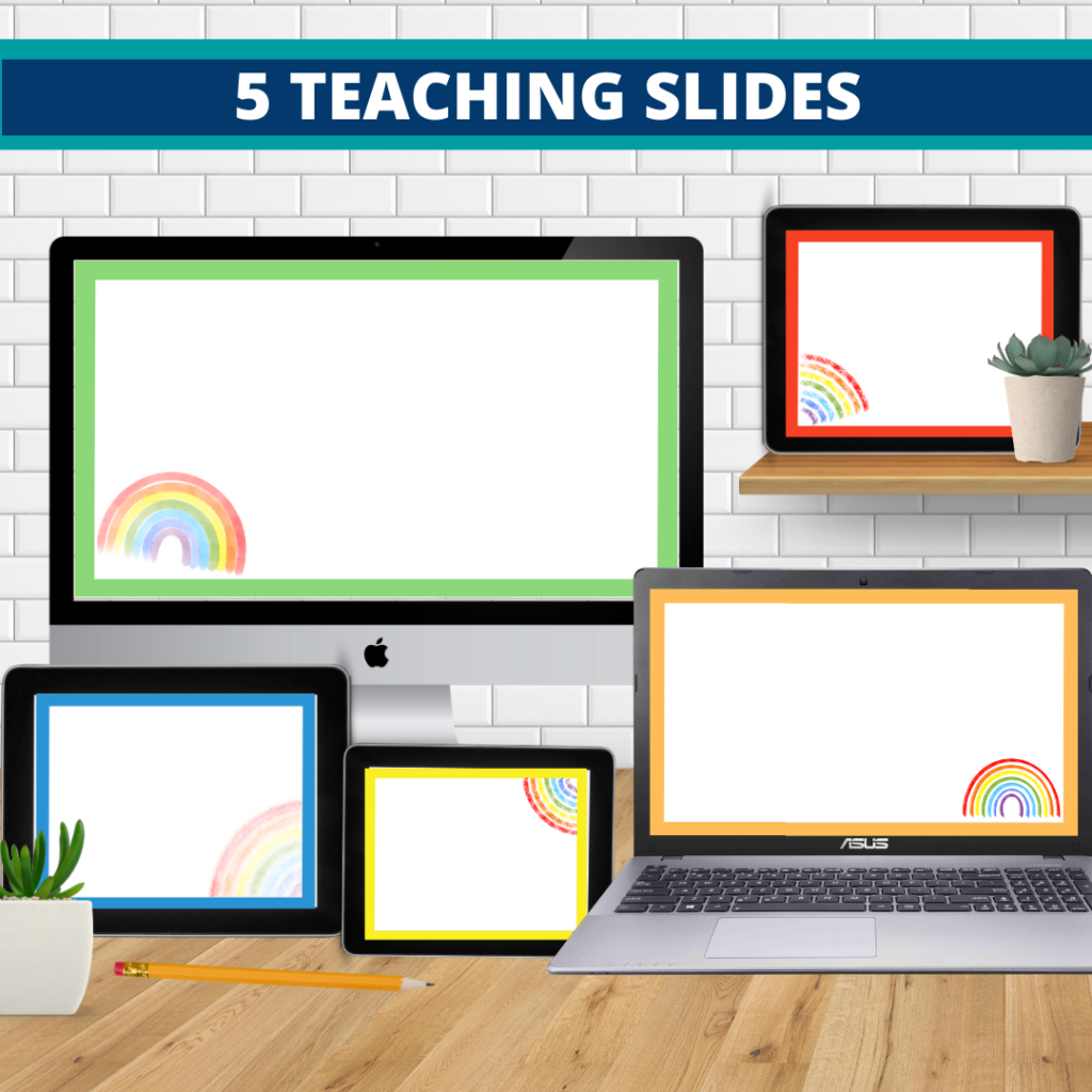 rainbow theme google classroom slides and powerpoint templates for elementary teachers shown on computers
