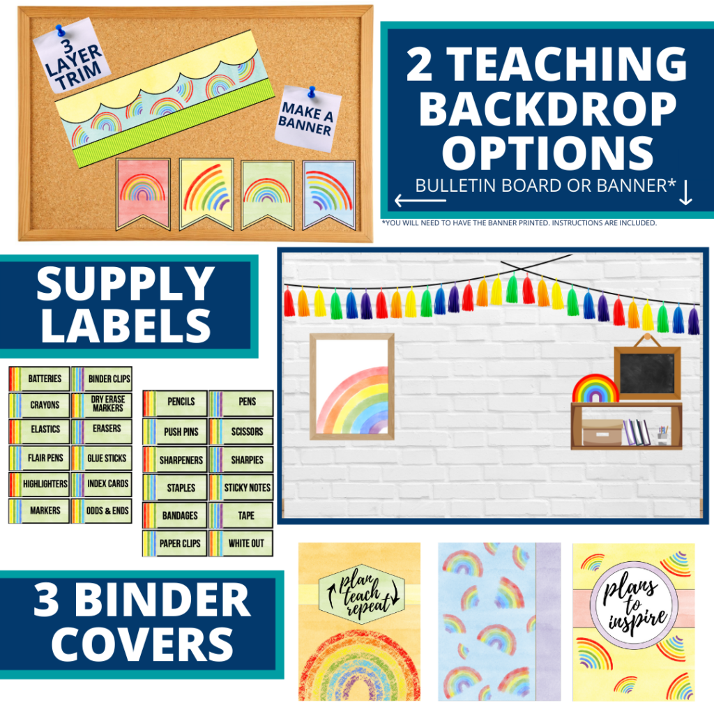 rainbow themed background for a cheap and easy online teaching or a VIP kid backdrop