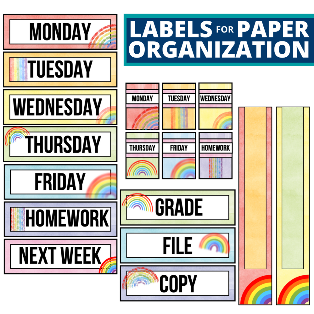 rainbow theme labels for paper organization in the classroom