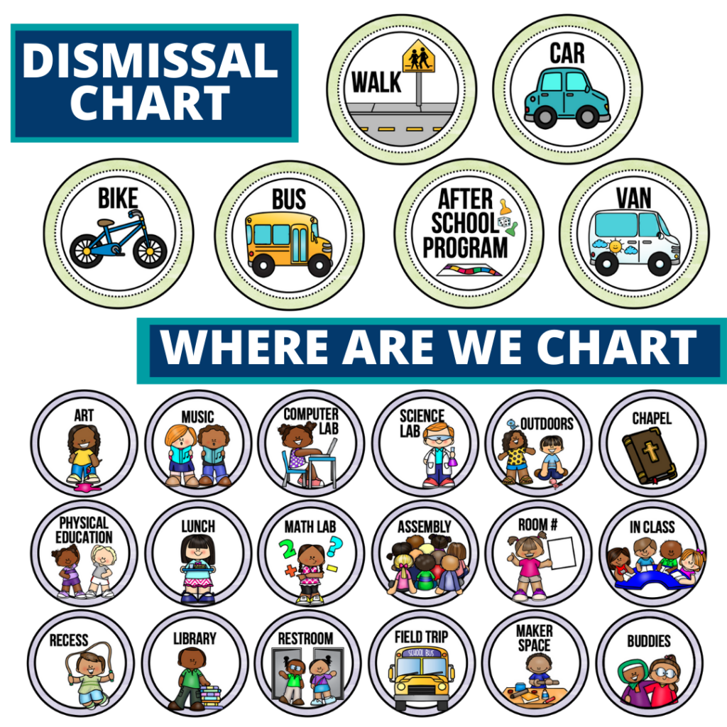 rainbow theme editable dismissal chart for elementary classrooms with for better classroom