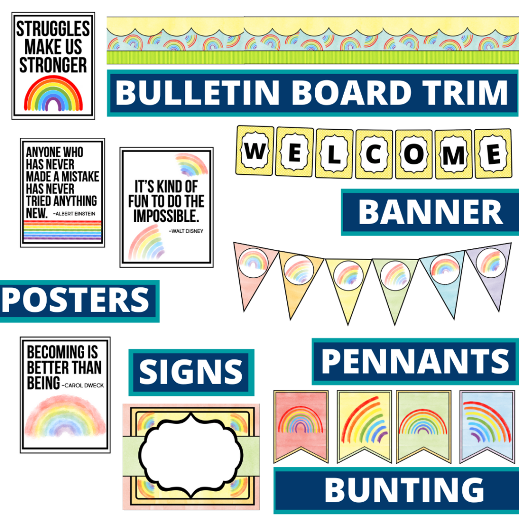 rainbow theme bulletin board trim with pennants, banner and bunting