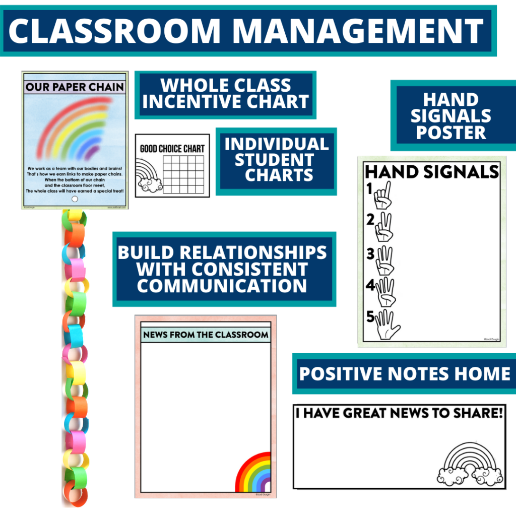 rainbow themed tools for improving student behavior in an elementary classroom