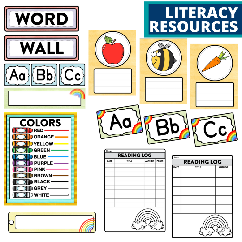 elementary classroom word wall and reading logs for a rainbow themed classroom