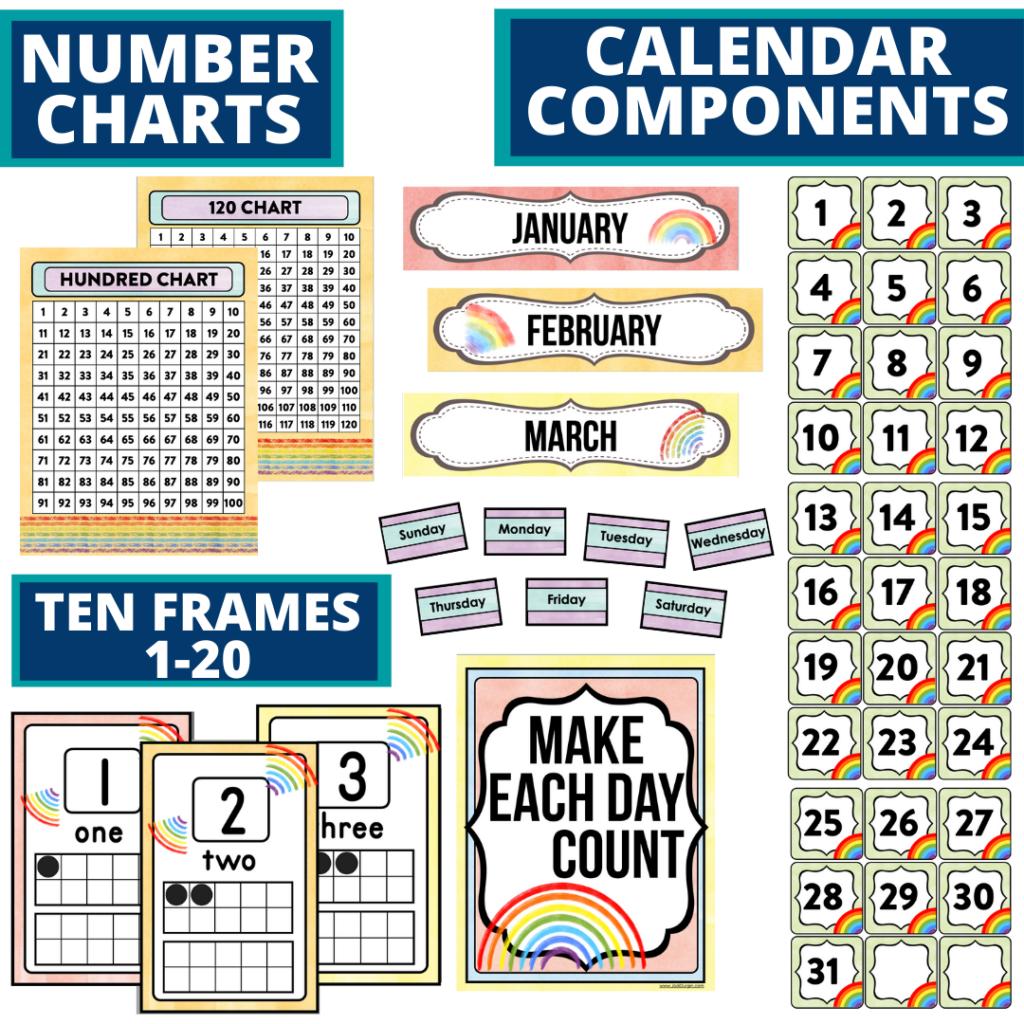 DIY printable classroom calendar for elementary teachers using a rainbow classroom theme