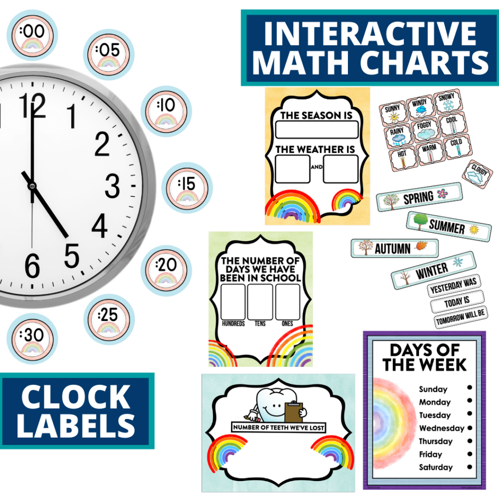 rainbow themed math resources for telling time, place value and the days of the week