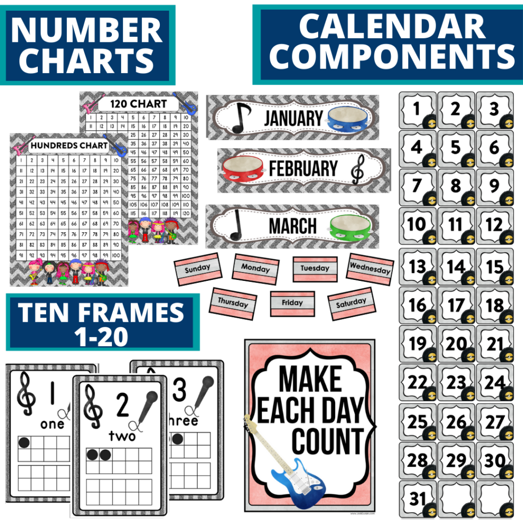 DIY printable classroom calendar for elementary teachers using a rock and roll classroom theme