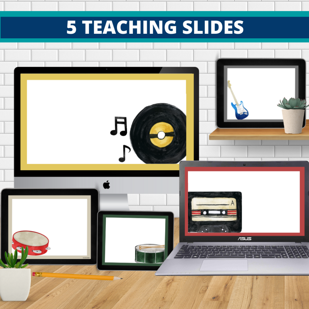 rock and roll theme google classroom slides and powerpoint templates for elementary teachers shown on computers