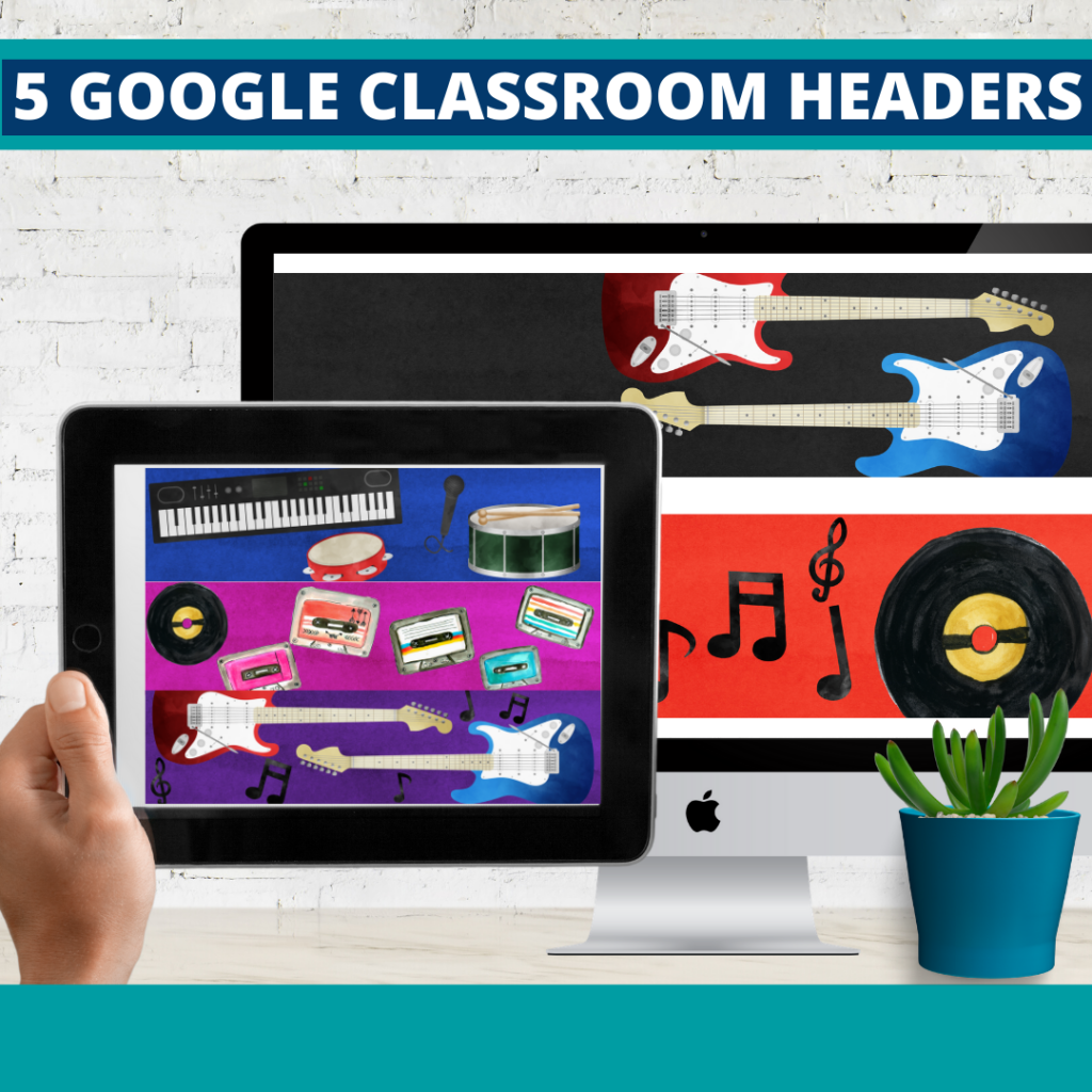 rock and roll classroom themed google classroom headers and google classroom banners