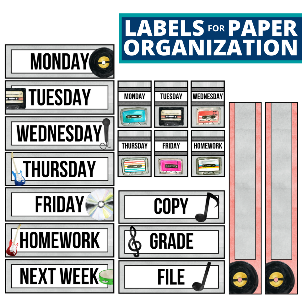 rock and roll theme labels for paper organization in the classroom