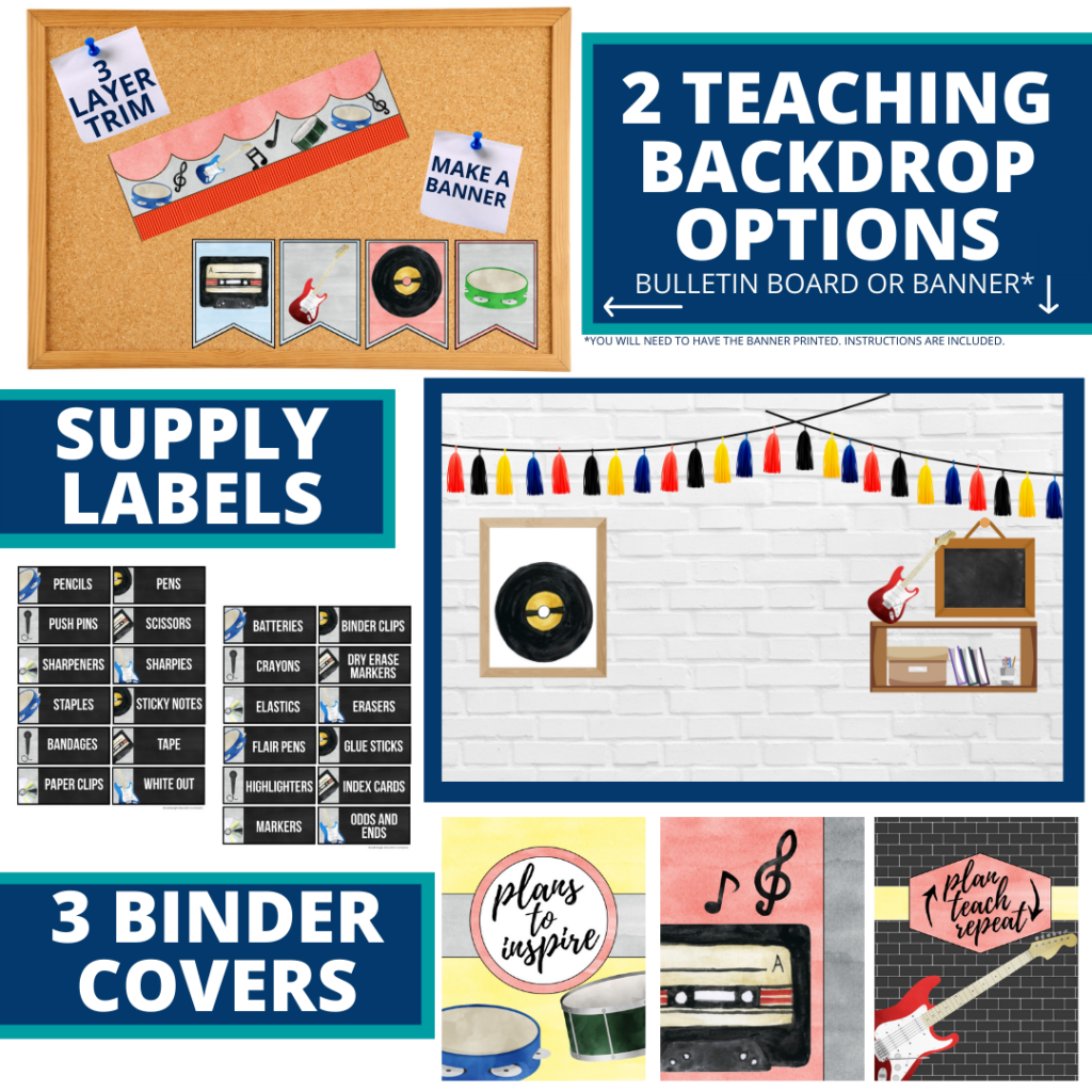 rock and roll themed background for a cheap and easy online teaching or a VIP kid backdrop