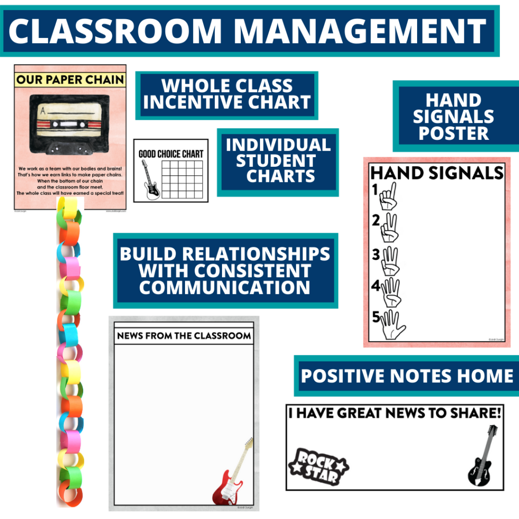 rock and roll themed tools for improving student behavior in an elementary classroom