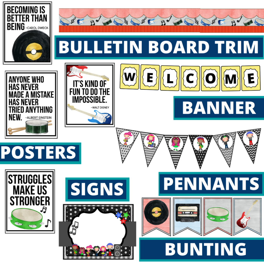 rock and roll theme bulletin board trim with pennants, banner and bunting