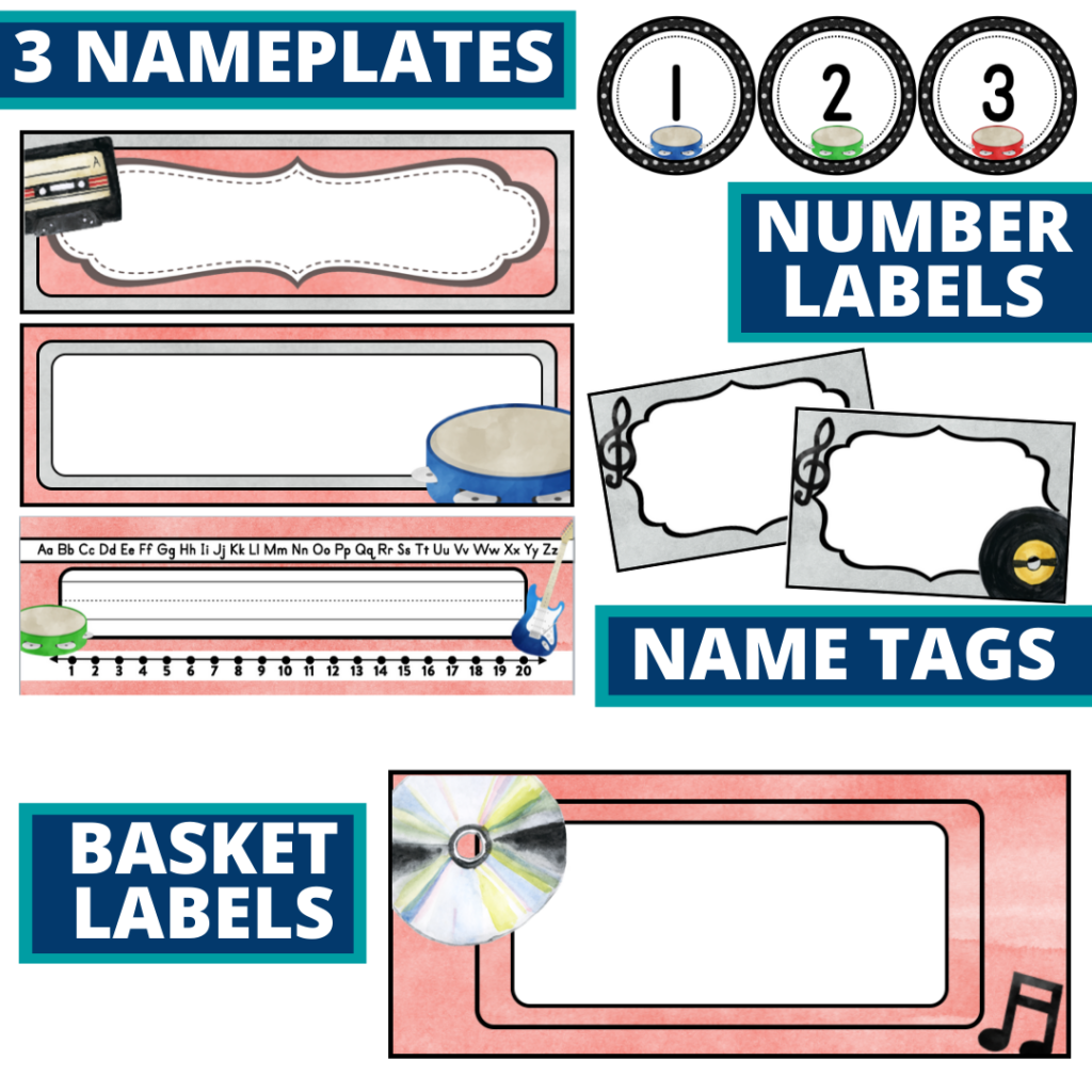 editable nameplates and basket labels for a rock and roll themed classroom