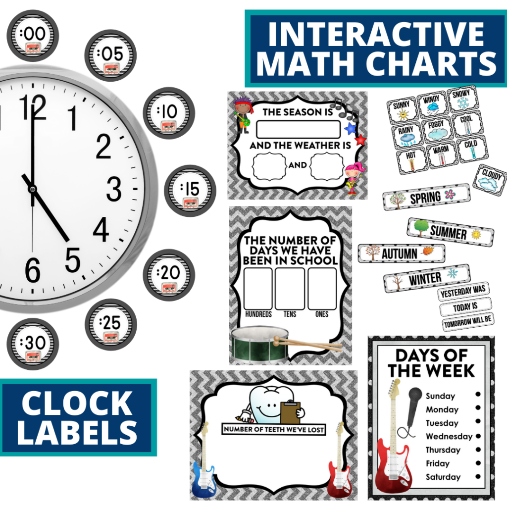 rock and roll themed math resources for telling time, place value and the days of the week