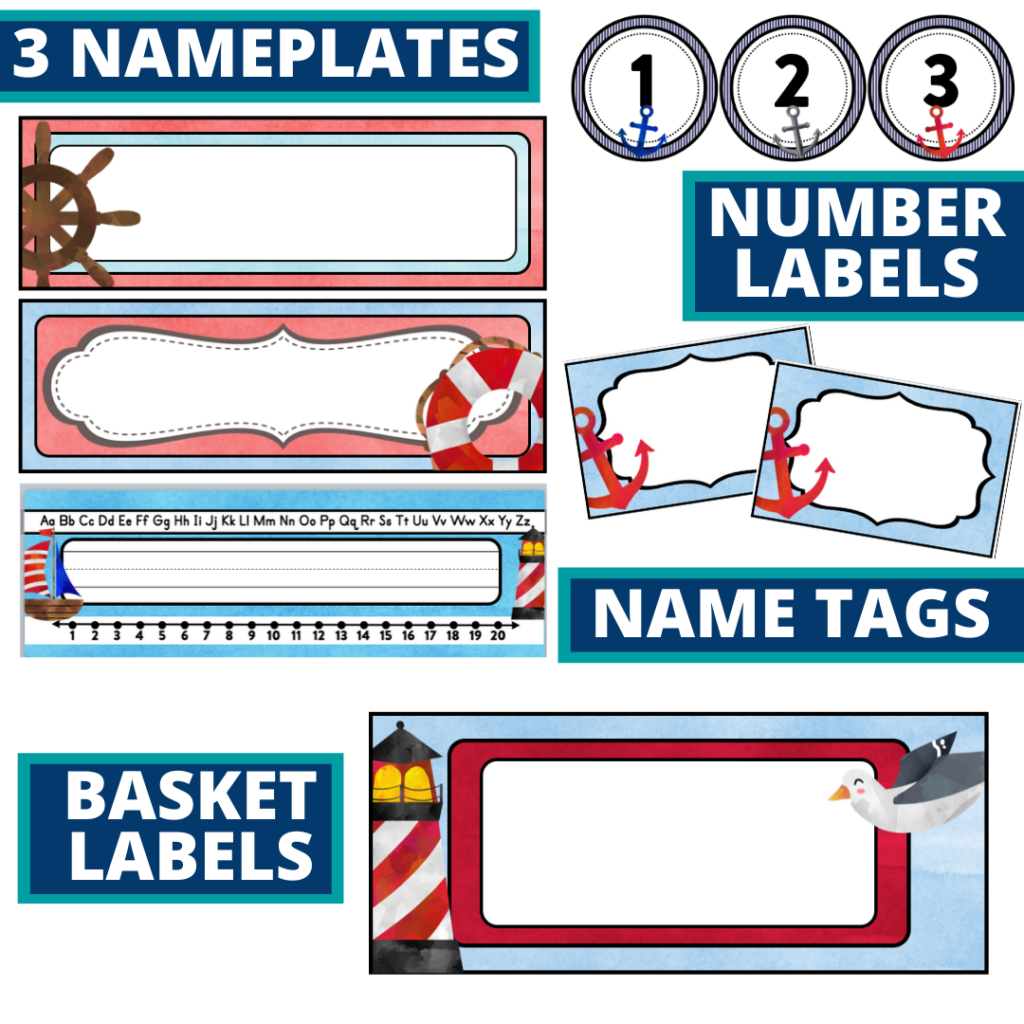 editable nameplates and basket labels for a nautical themed classroom