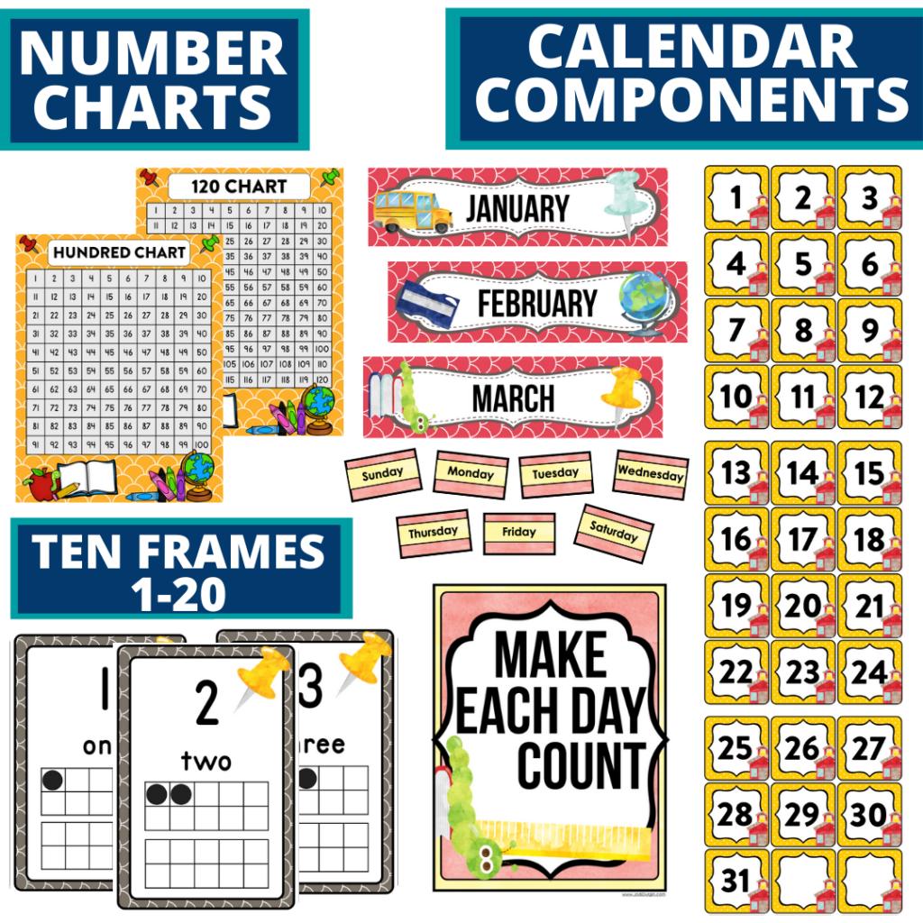 DIY printable classroom calendar for elementary teachers using a school classroom theme