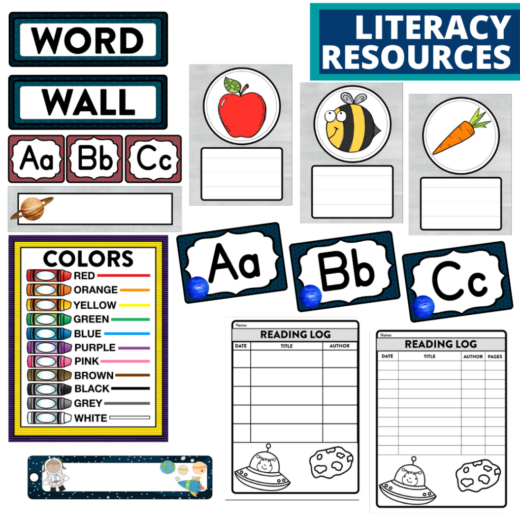 elementary classroom word wall and reading logs for a space themed classroom