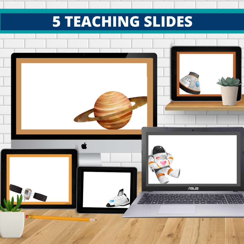 space theme google classroom slides and powerpoint templates for elementary teachers shown on computers