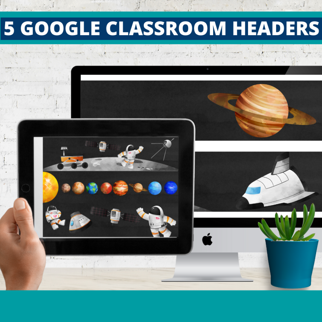 space classroom themed google classroom headers and google classroom banners
