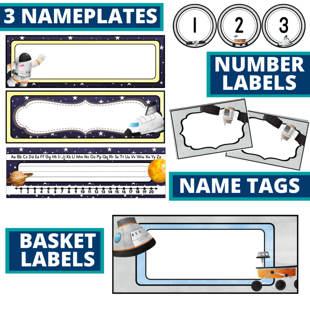 editable nameplates and basket labels for a space themed classroom
