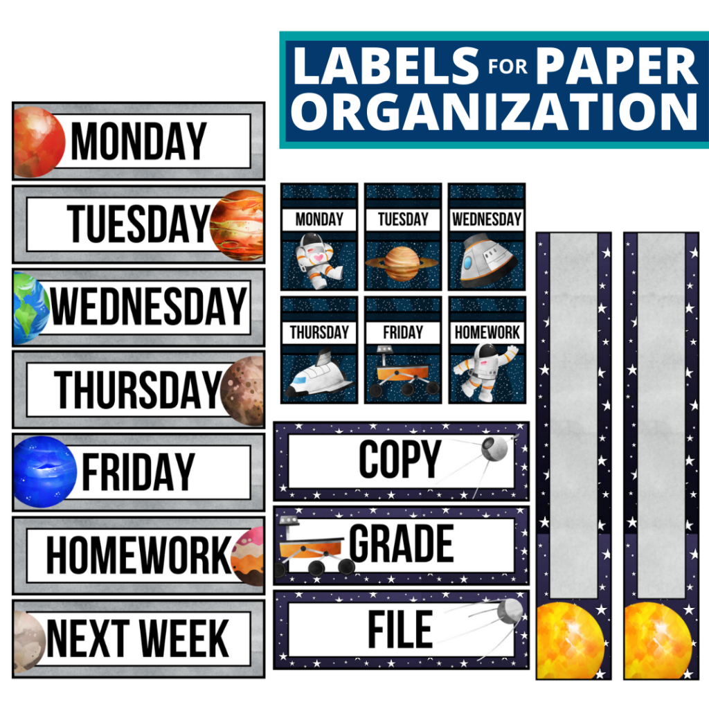 space theme labels for paper organization in the classroom