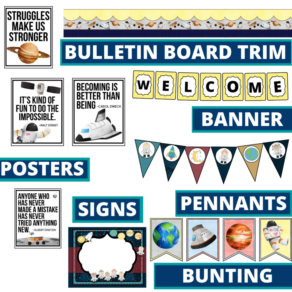 space theme bulletin board trim with pennants, banner and bunting