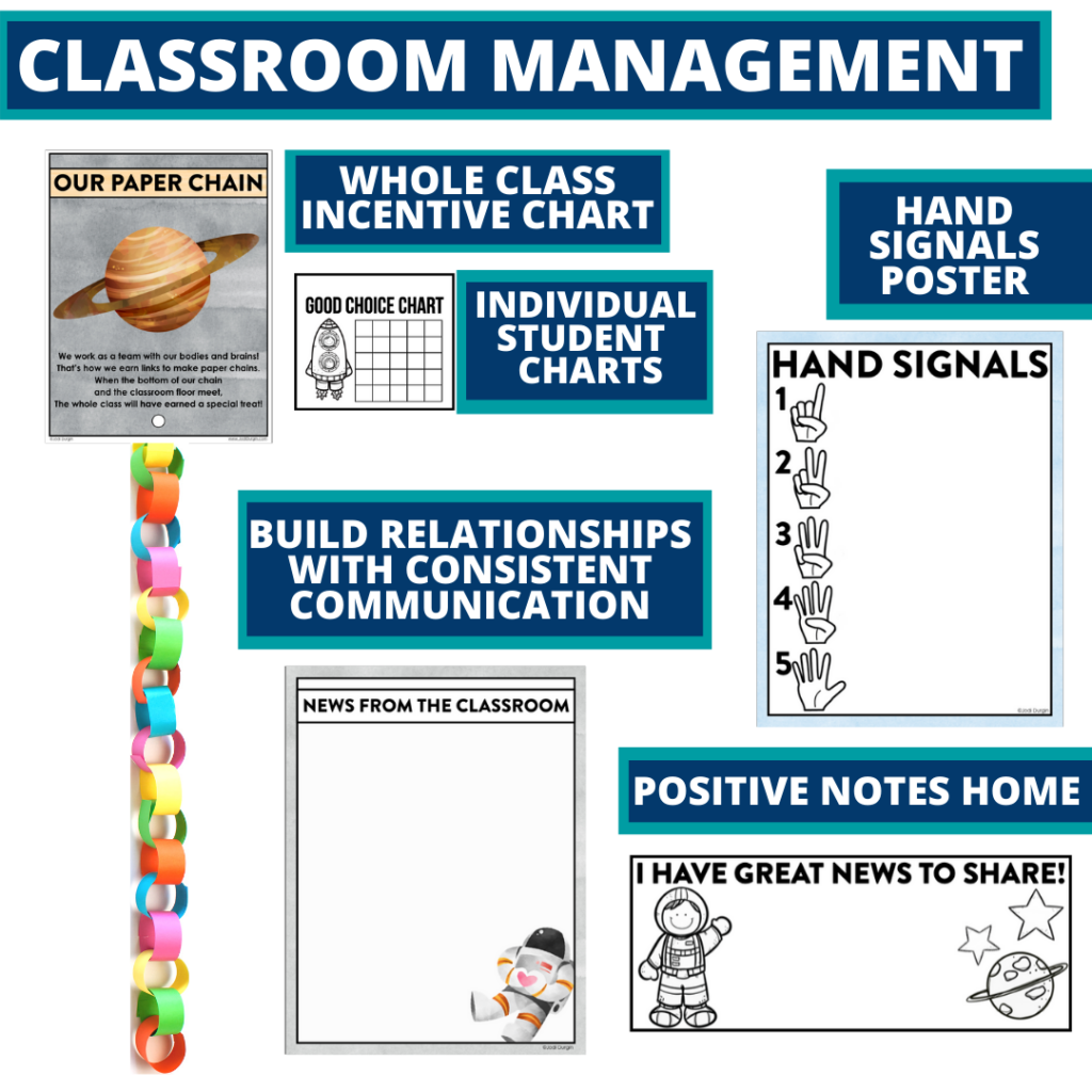space themed tools for improving student behavior in an elementary classroom