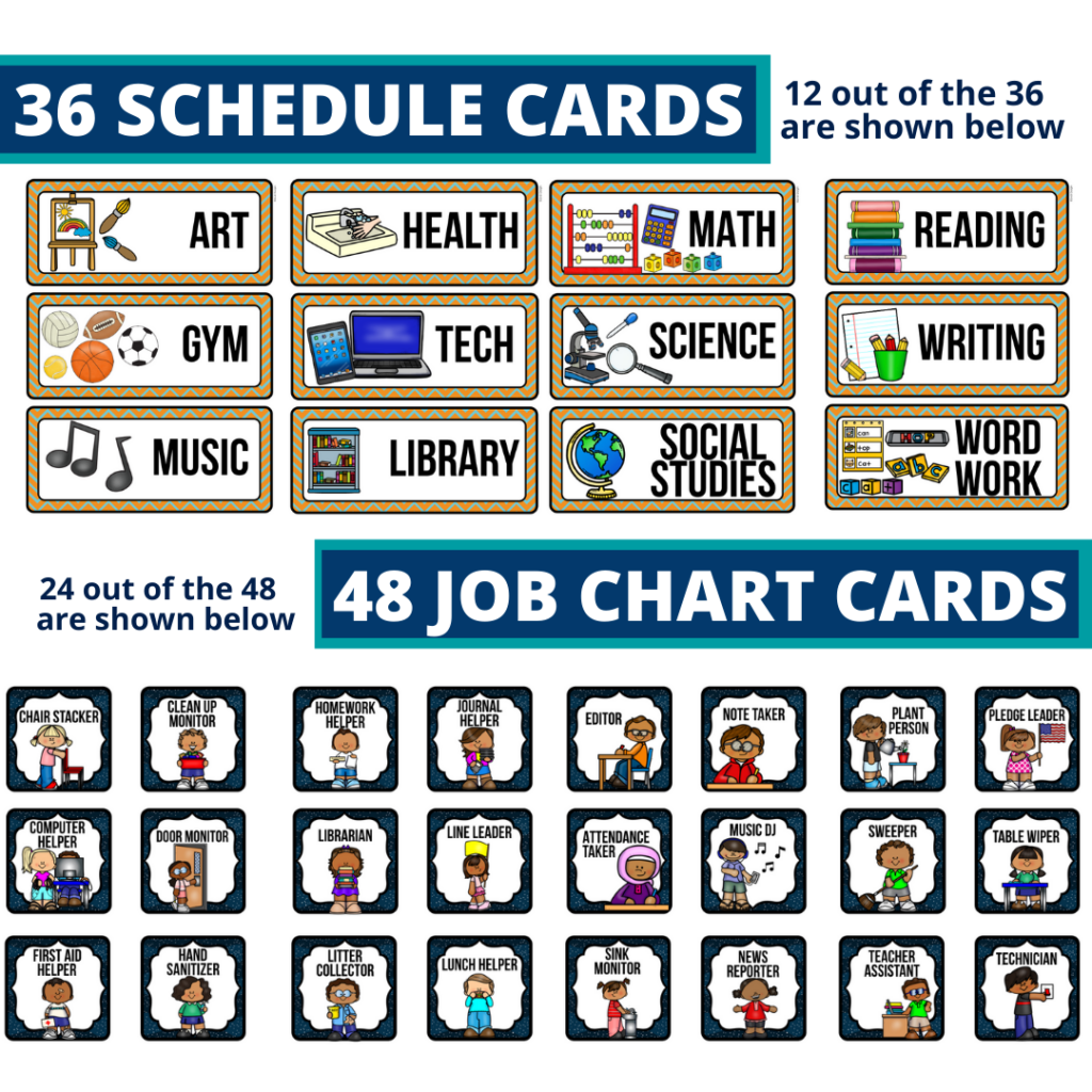 editable elementary schedule cards and job chart labels with a space theme