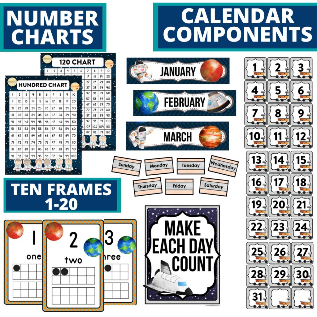 DIY printable classroom calendar for elementary teachers using a space classroom theme