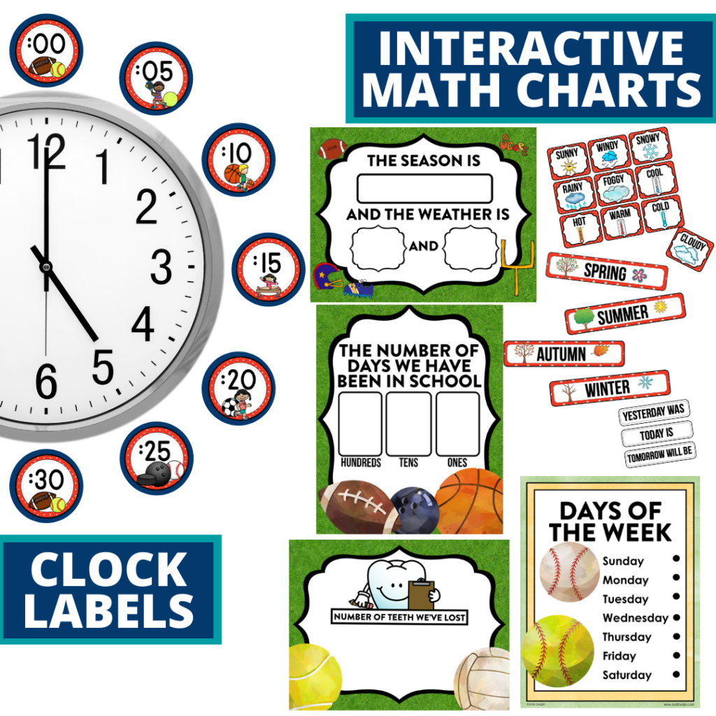 sports themed math resources for telling time, place value and the days of the week