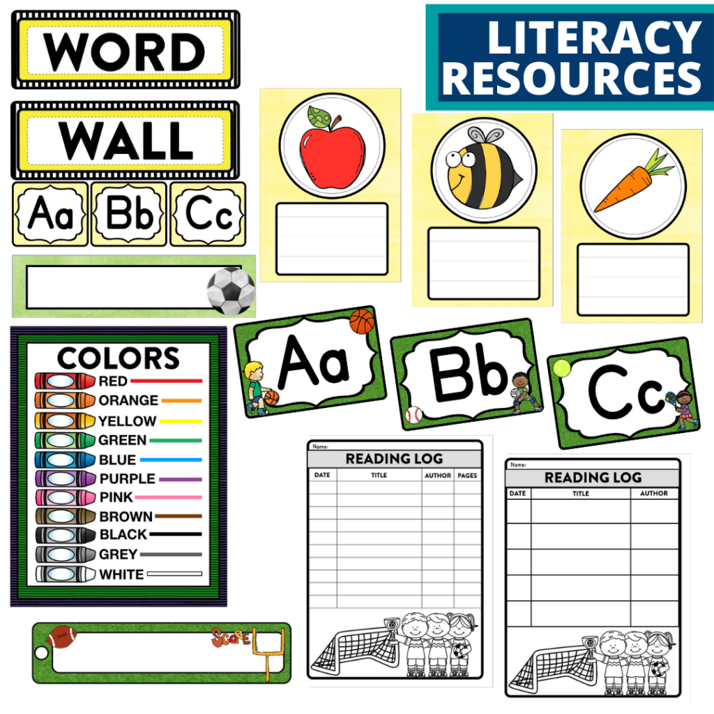 elementary classroom word wall and reading logs for a sports themed classroom
