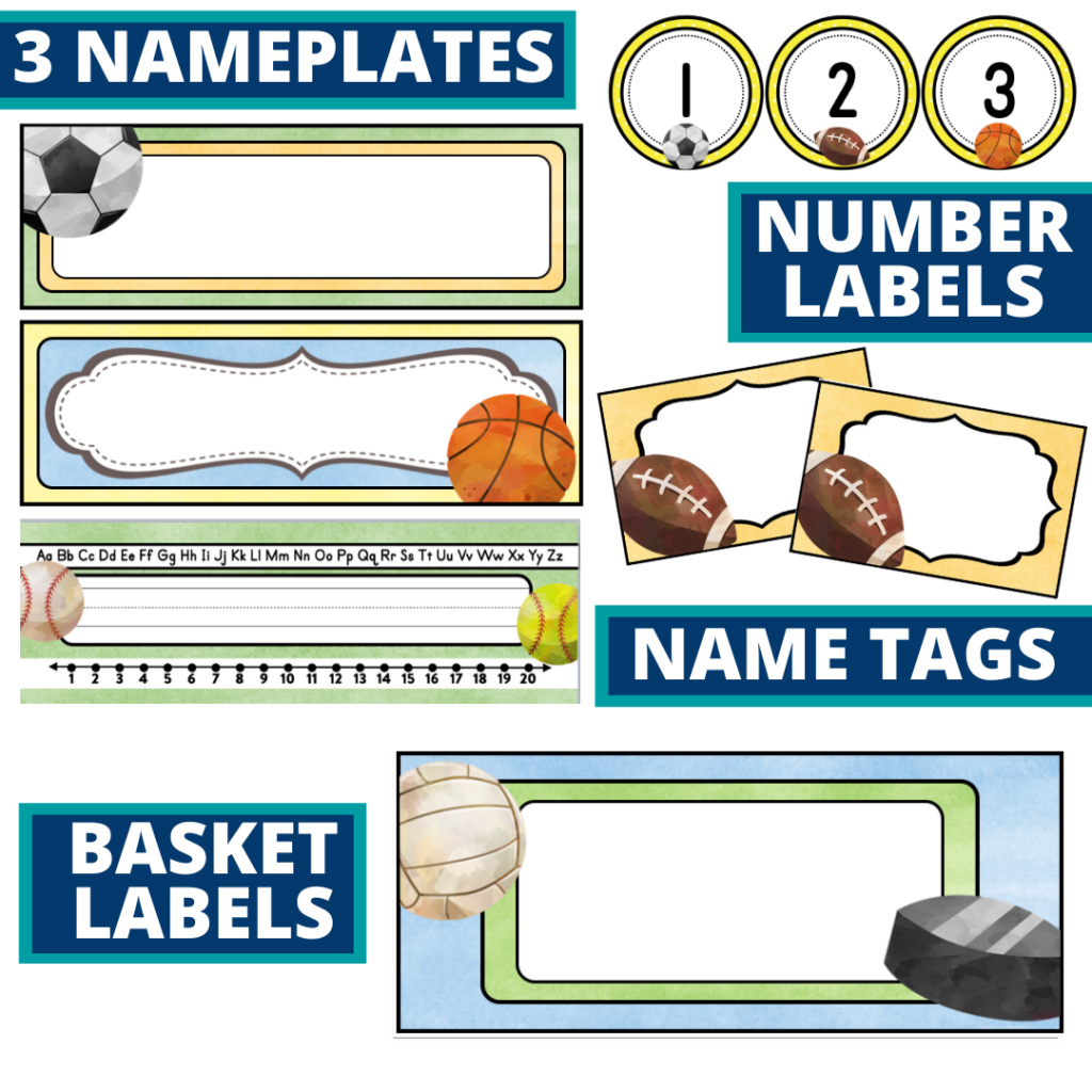 editable nameplates and basket labels for a sports themed classroom