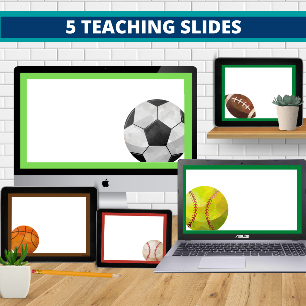 sports theme google classroom slides and powerpoint templates for elementary teachers shown on computers