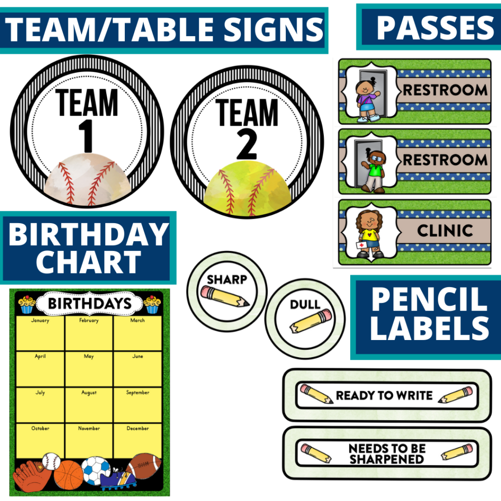 printable and editable sports theme classroom decor packets